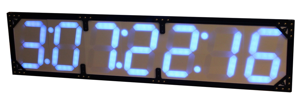 A countdown clock made with these segments. It automatically counts down to the next SpaceX launch. Note the colon for marking hours, minutes, and seconds.