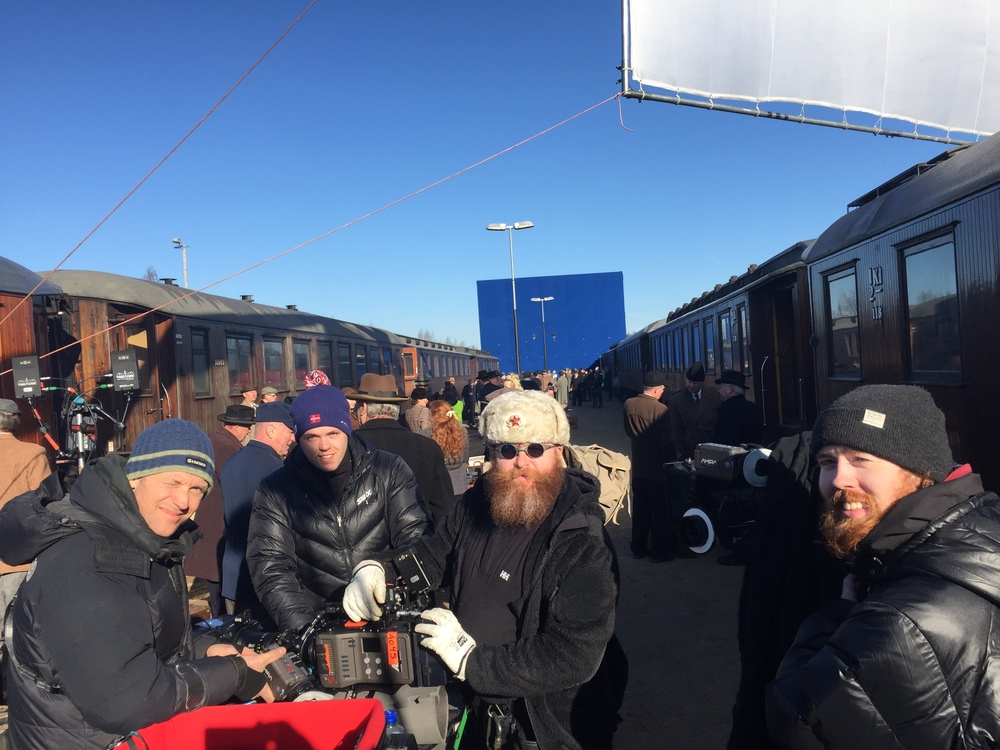 Focus puller Jens Patterson, grip Jim K Nilsen, video assist operator Marius Redsand, and  DIT Kim Bach.