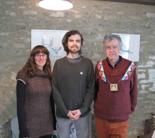 Jennifer Newbury and Simon Keyte with Frome town mayor, Peter Macfadyen, wearing the 'frame chain' made by Mount in thanks for opening the studio.