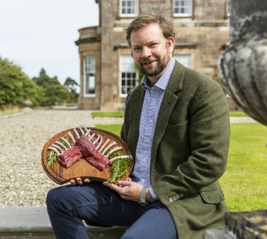Jamie Hamilton of Baronscourt Estate, with his Wild Sika Venison French Rack