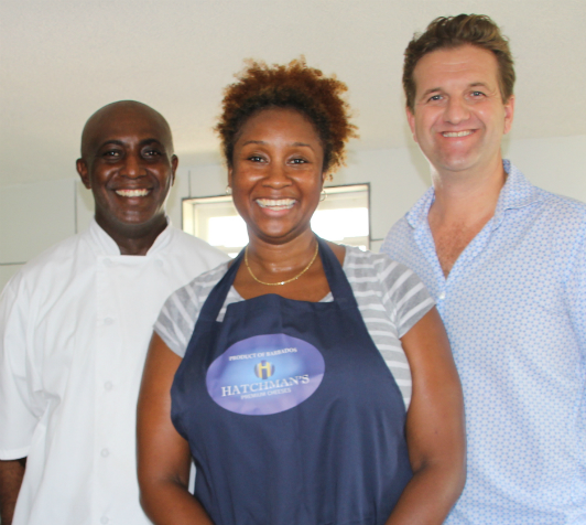 (L to R) Leo Beckles, Cobblers Cove Chef and Market Tours Coordinator, Andrea Power of Hatchman's Premium Cheeses and John Farrand, Managing Director of the Guild of Fine Food.