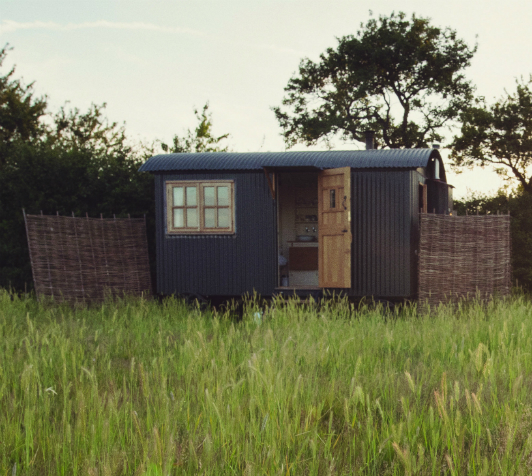 A Plankbridge shepherd's hut at Elmley National Nature Reserve, by Robert Canis.