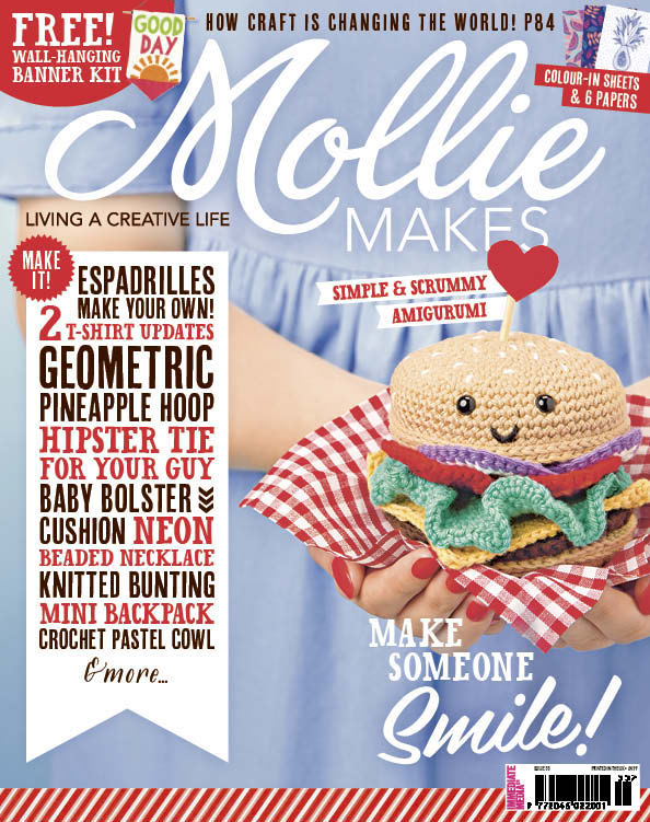 July 2015 - Mollie Makes magazine. Delighted for Cloth&Candy to have been featured as a 'Website to Watch' in Issue 55.