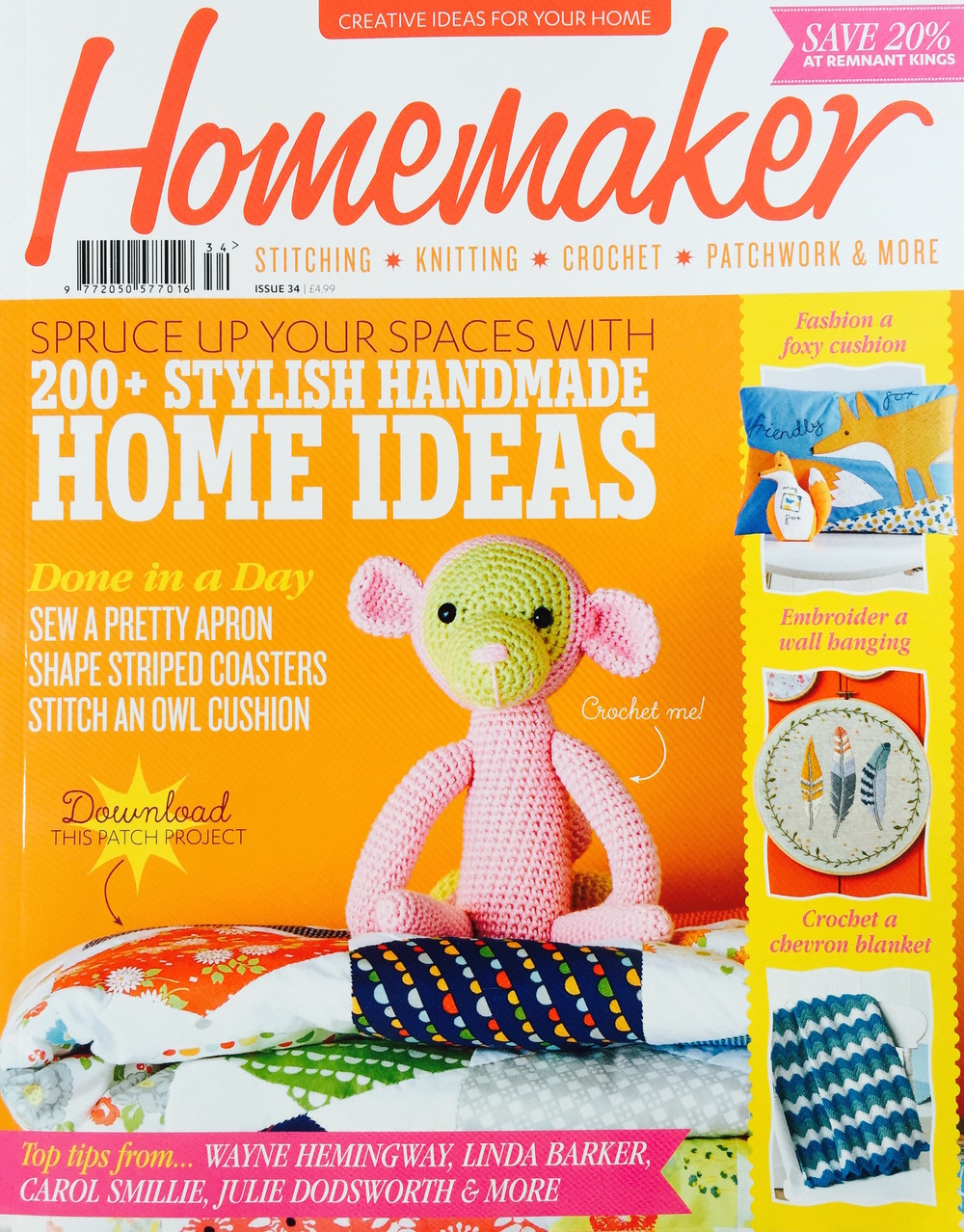 July 2015 - Homemaker magazine. Issue 34. Fabric featured in 'Masterclass' feature.