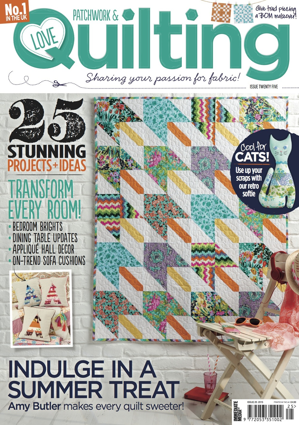 "August 2015 - Love Patchwork and Quilting magazine. Issue 25. News feature as new online business - ""Indulge at Cloth&Candy"""