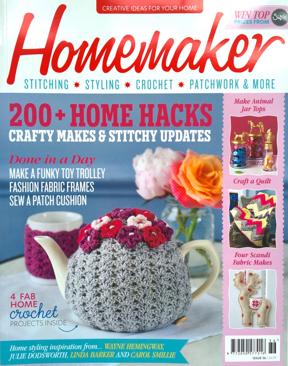 September 2015 - Homemaker Magazine. Issue 36. Featured as Website of the Month.