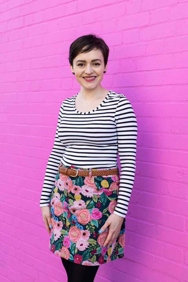 February 2019 - Tilly and the Buttons Blog - Ness skirt made using Cloth&Candy fabric.