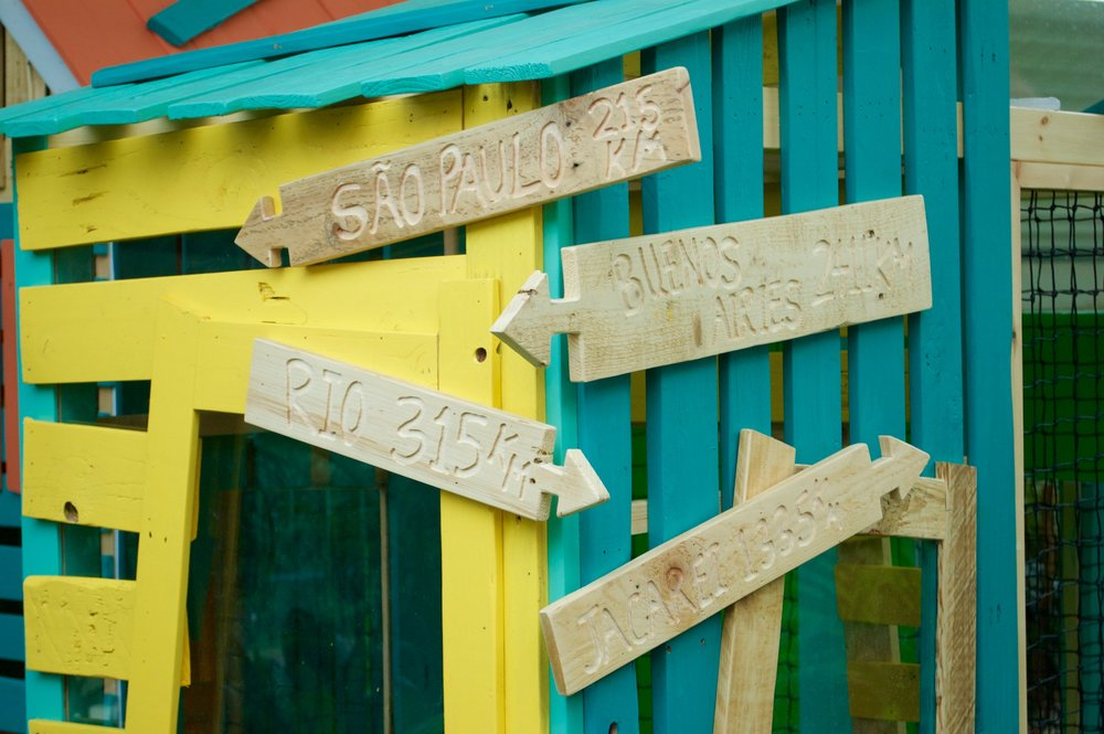 Rustic wooden signs on new Las Iguanas play area.