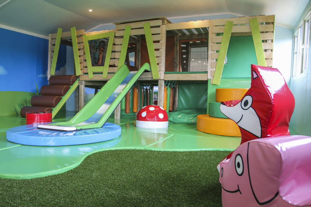 We really embraced Adam's farm and park theme here, designing soft play foxes and pigs!