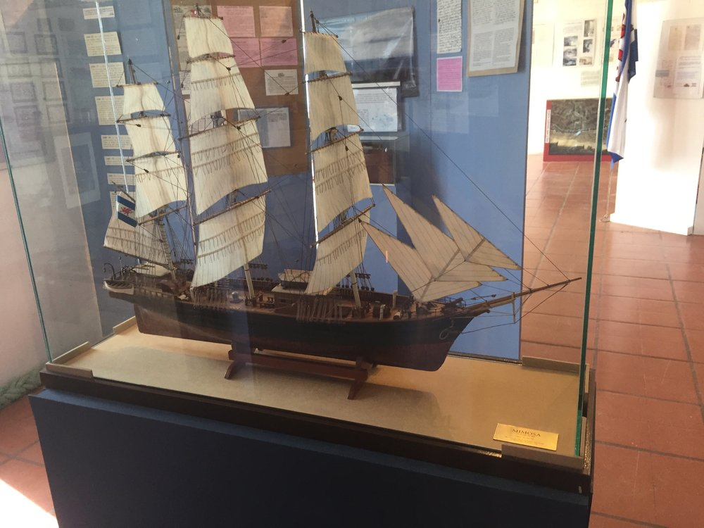 Model of the Mimosa, the converted tea clipper that carried the first settlers from Wales to Patagonia.