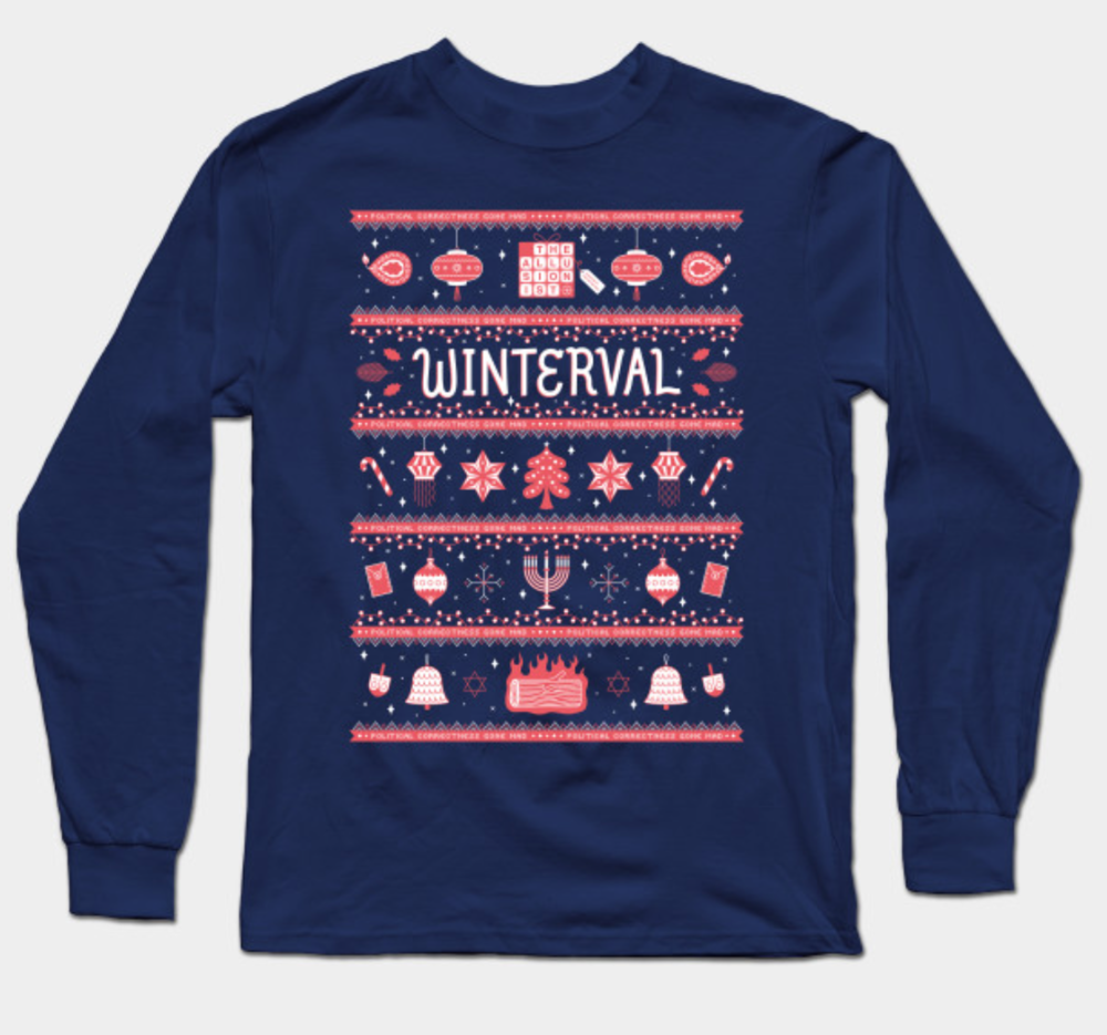 A  multidenominational riff on the festive sweater , designed by   Kristyna Baczynski   and based on  episode 48 Winterval . Available with long and short sleeves and in several colours at   theallusionist.org/merch