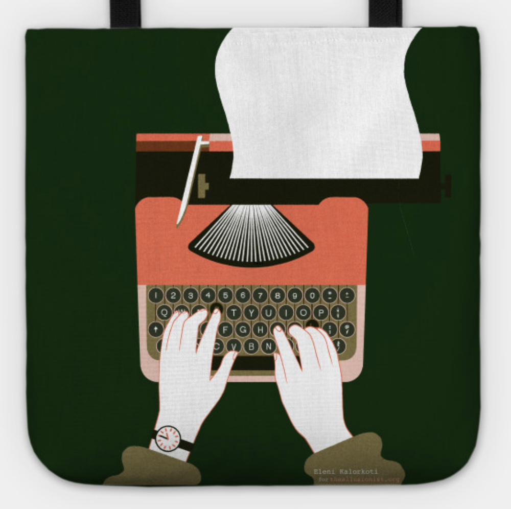 Get  Tshirts, onesies and tote bags  with Eleni  Kalorkoti 's exclusive typewriter artwork. Available in several colours at   theallusionist.org/merch