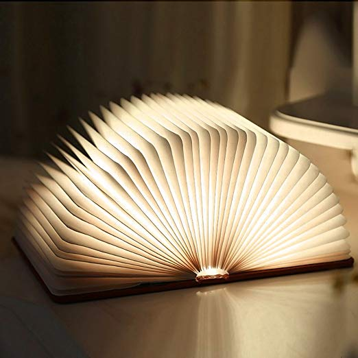 I love these USB-charged book-shaped lights, which you can open flat, stand on end, hang up, etc, available from   Lumio     (or you'll find myriad less expensive versions on Amazon and soforth).