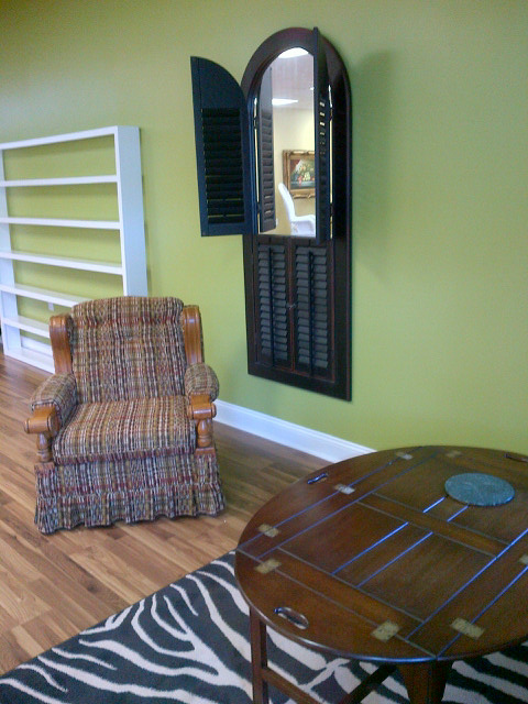 Vintage Chair / Shuttered Mirror Wall Hanging / Folding Coffee Table / Zebra Rug