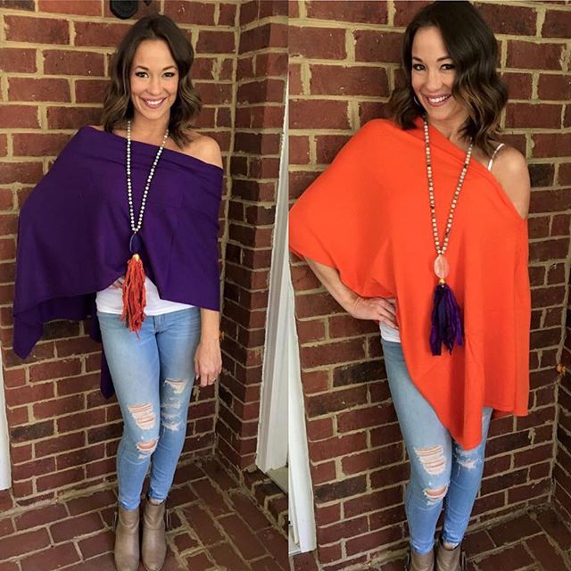 Some gorgeous arrivals for our Tiger ladies! Come pick yours up today before they sell out! Perfect for fall weather. Necklaces also for purchase. Message me for details!