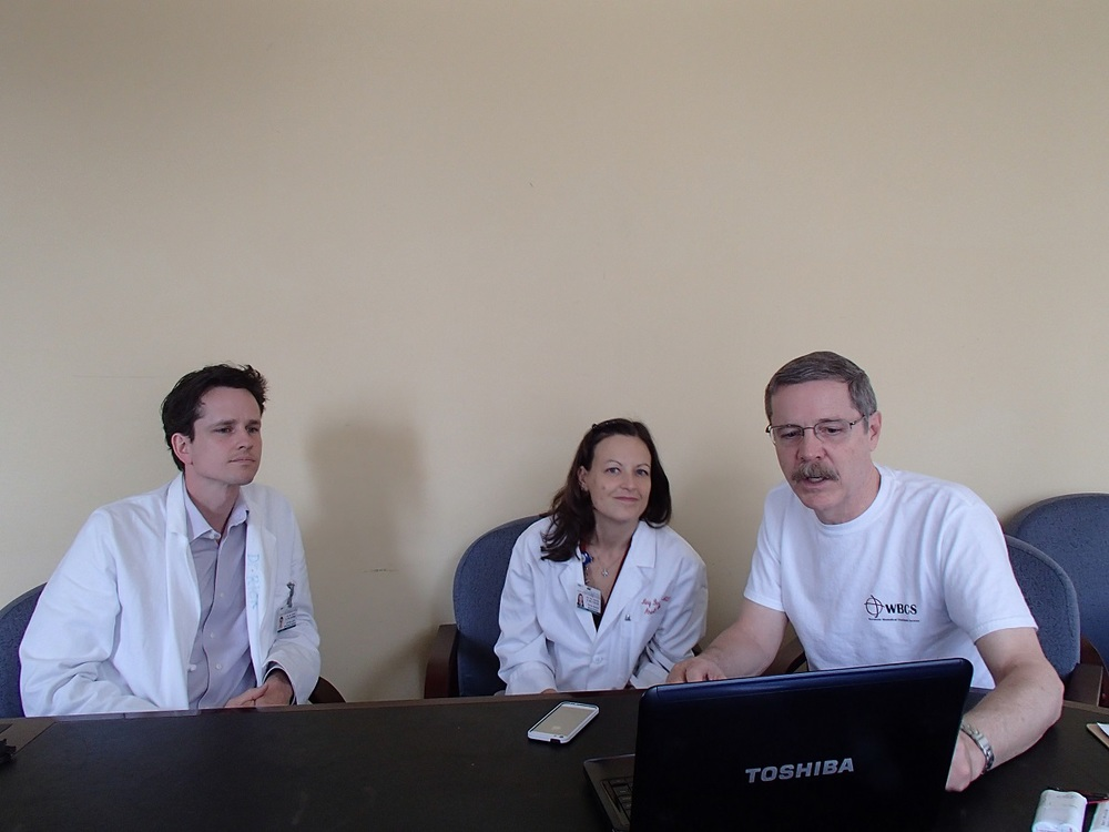 consulting with Dr.Rick Gardner and Dr. Mary Bernard (the Medical Director) on the technical findings and needs after working there for a week..jpg