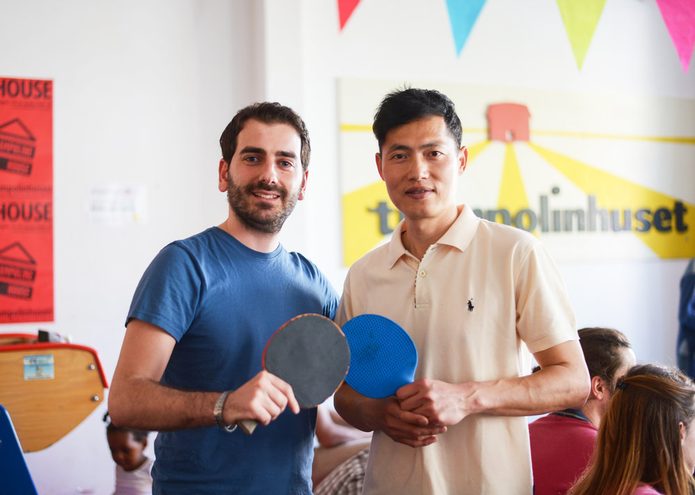 David Jason Lou (right) has played and taught Ping Pong for many years, and knows about the game's practical aspects as well as its philosophical and Buddhistic applications. Photo: Anna Emy.