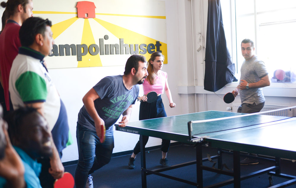 Ping Pong has always been one of the most popular activities in Trampoline House. Photo: Anna Emy.