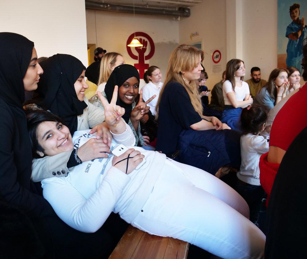 Nogle af kvinderne, der deltog i Trampolinhusets fejring af kvindernes internationale kampdag. Foto: Viktoria Steinhart