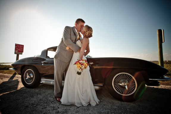 charleston wedding couple departing in their antique getaway car, lowcountry weddings