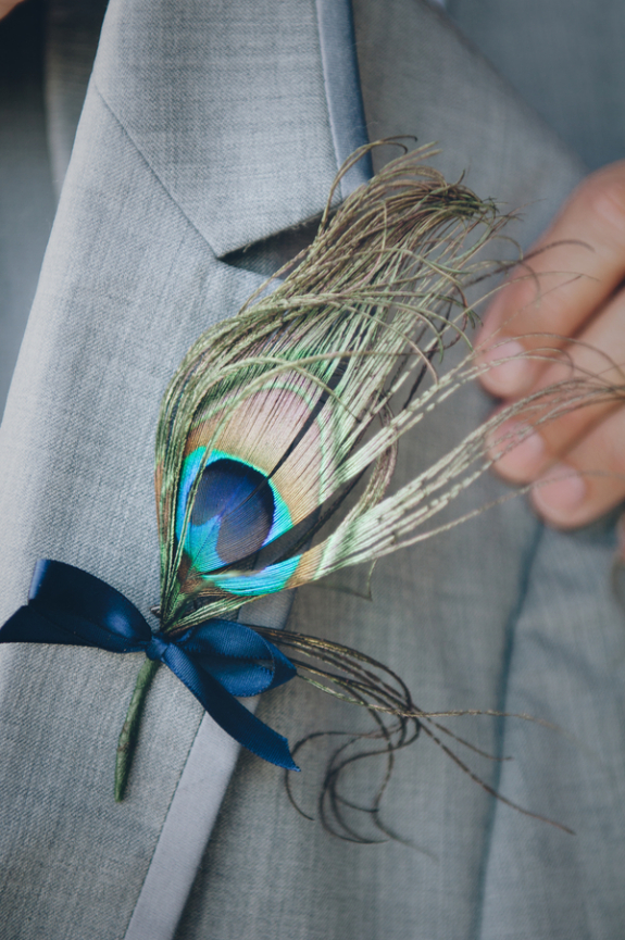 lowcountry weddings, peacock boutonnieres