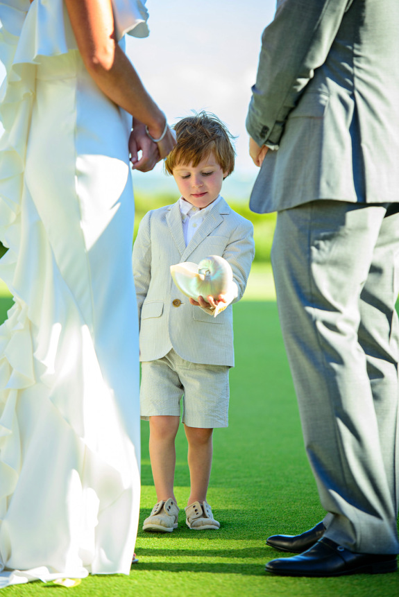 charleston wedding ceremony outdoor at the sanctuary at kiawah island, southern wedding ringbearer