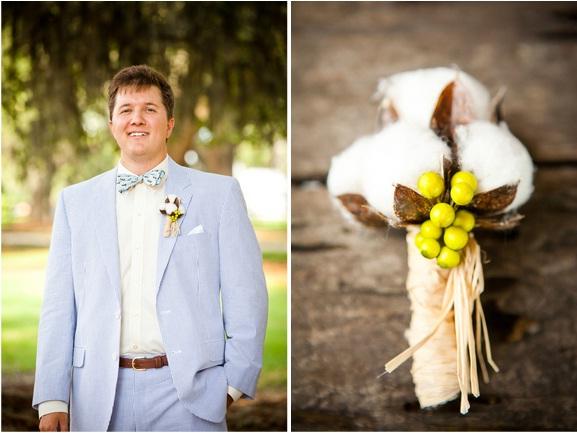 seersucker grooms, cotton boutonniere
