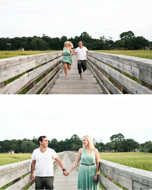 charleston wedding engagement on a folly beach pier via charleston wedding vendor jenna miller studios on lowcountry wedding blog