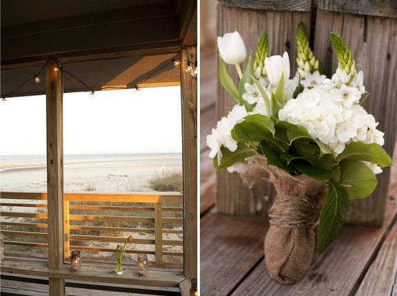 lowcountry weddings on the beach in charleston, burlap and white wedding bouquet