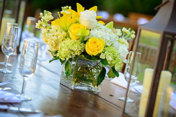 charleston weddings, the sanctuary resort on kiawah island weddings, lanterns and yellow centerpieces, outdoor reception