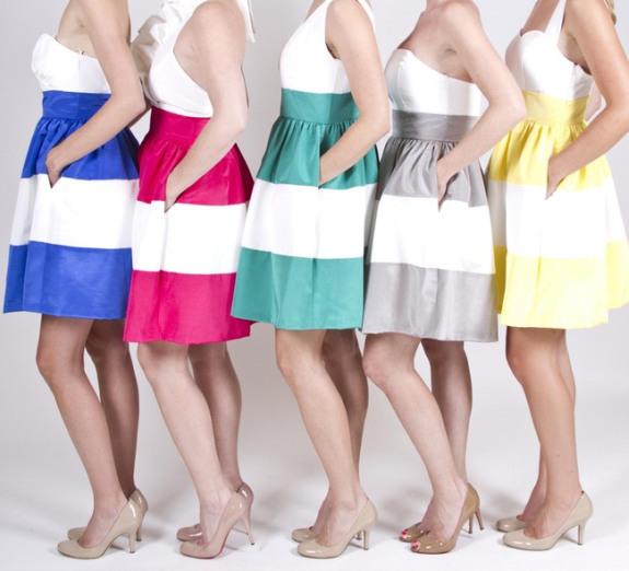 charleston weddings, lulakate bridesmaids dresses, striped bridesmaids dresses