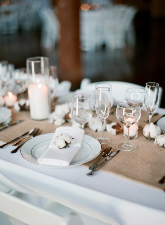myrtle beach weddings, place settings, table settings, cotton decor