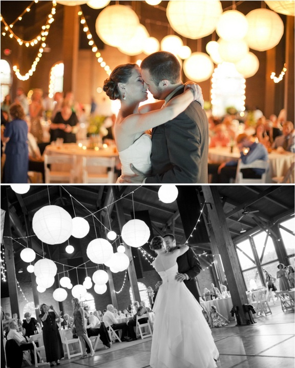 twinkle lights and lanterns for wedding reception
