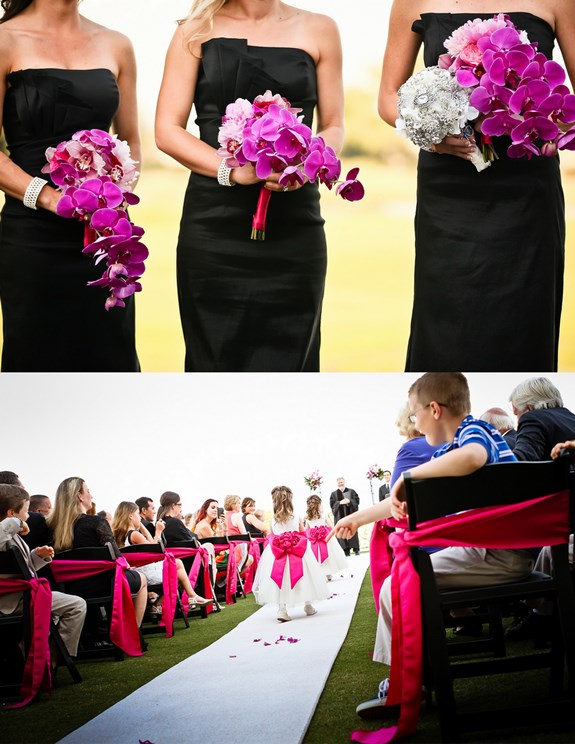 charleston-wedding-black-bridesmaids-dresses-orchids-bouquets