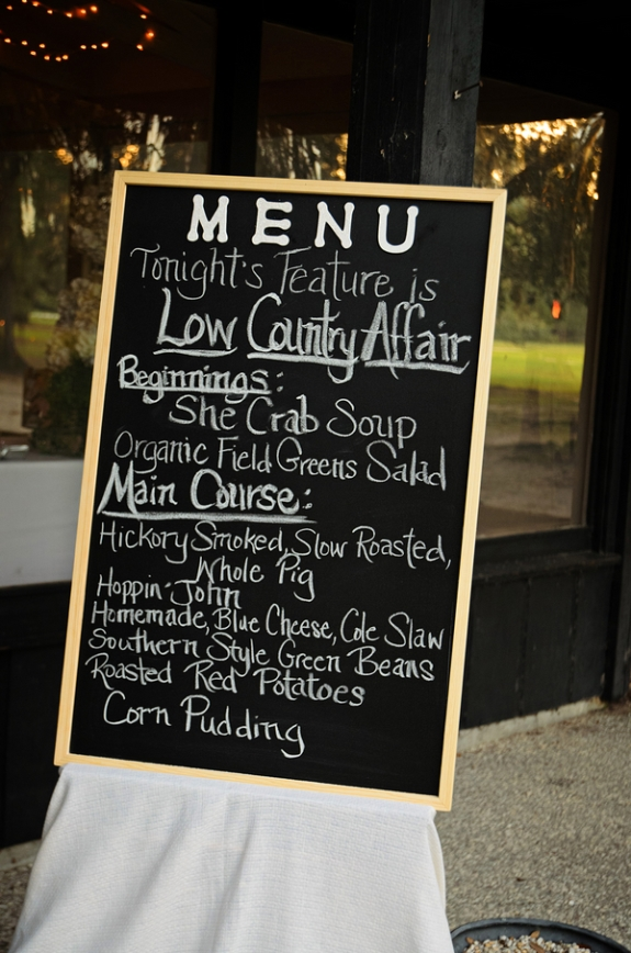 charleston wedding menus