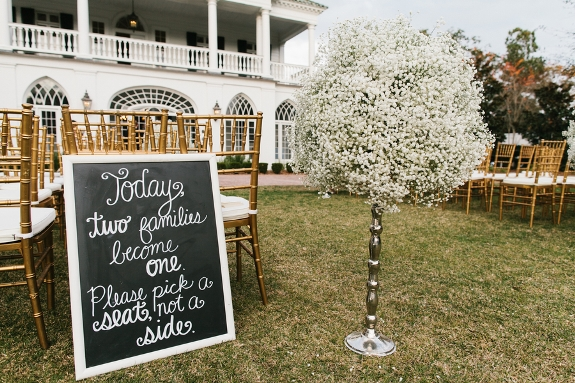 charleston wedding ceremony with baby's breath