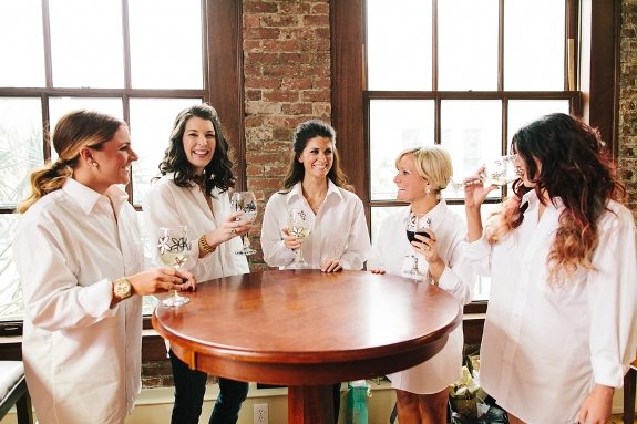 charleston wedding with white collared bridesmaids shirts