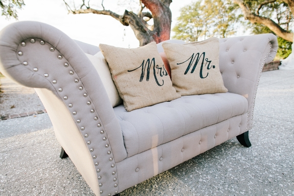 charleston wedding lounge furniture with burlap mr. and mrs pillows
