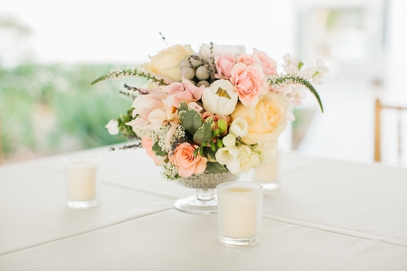 lowcountry weddng with romantic floral centerpieces