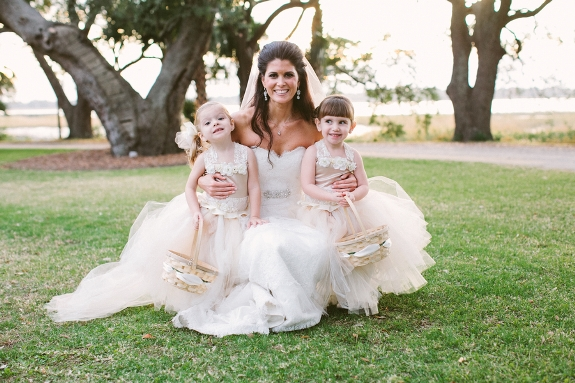 southern wedding flower girls in tulle dresses