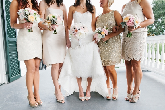 charleston wedding with gold bridesmaids dresses