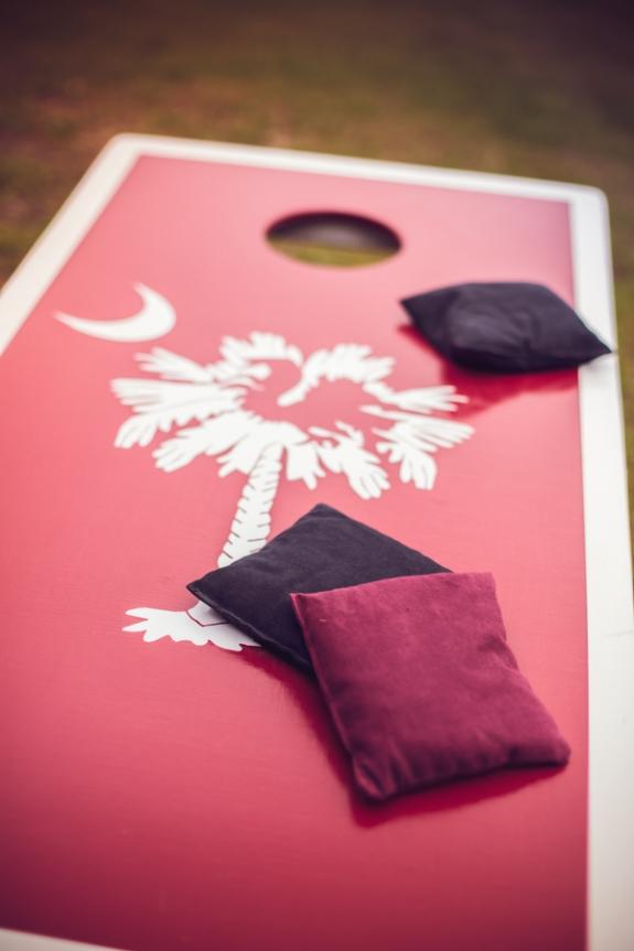 custom wedding cornhole game on a lowcountry wedding blog