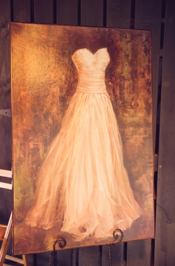 wedding gown painting on a lowcountry wedding blog