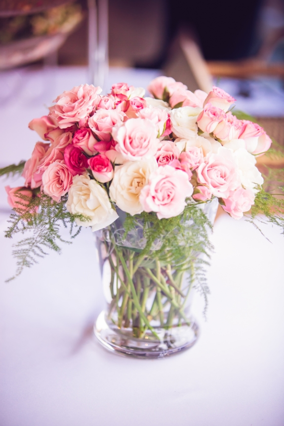 rose wedding centerpiece on a lowcountry wedding blog