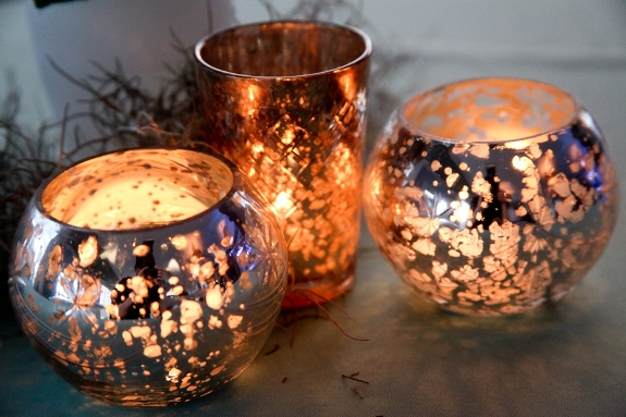 mercury glass wedding votives