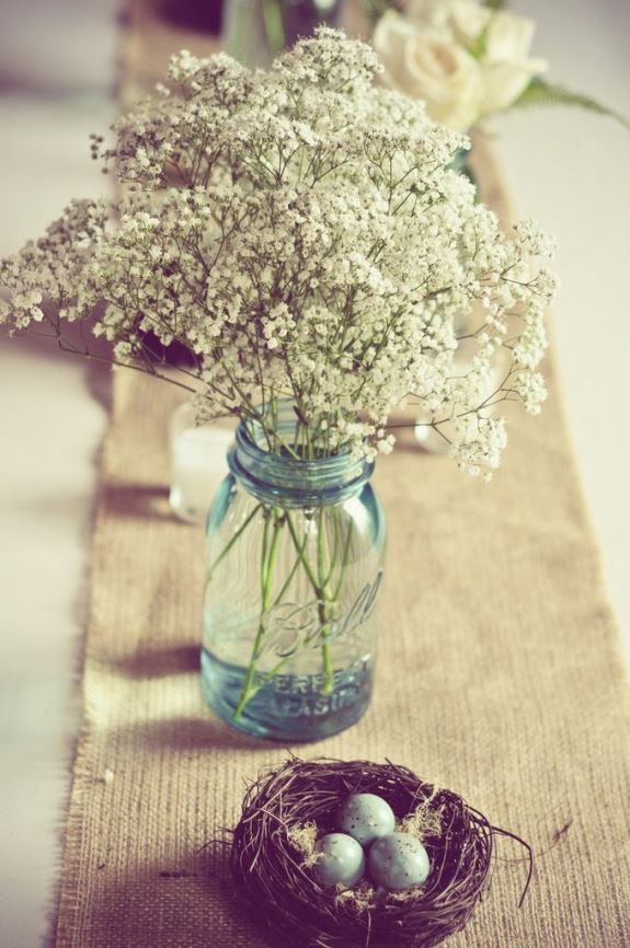 babys breathe wedding centerpiece in mason jars