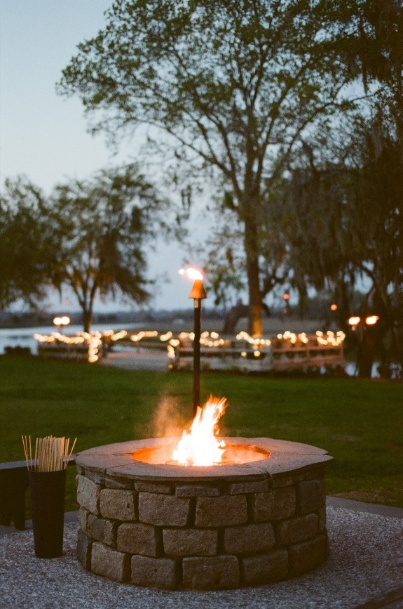 fire pit for smores wedding station