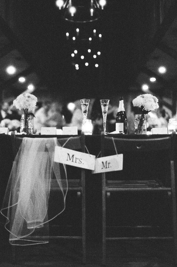 mr. and mrs. wooden chair signs at charleston wedding