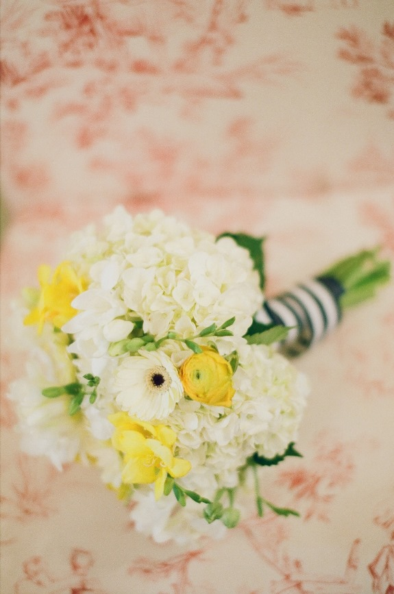 yellow and white bouquet by pretty petals of charleston