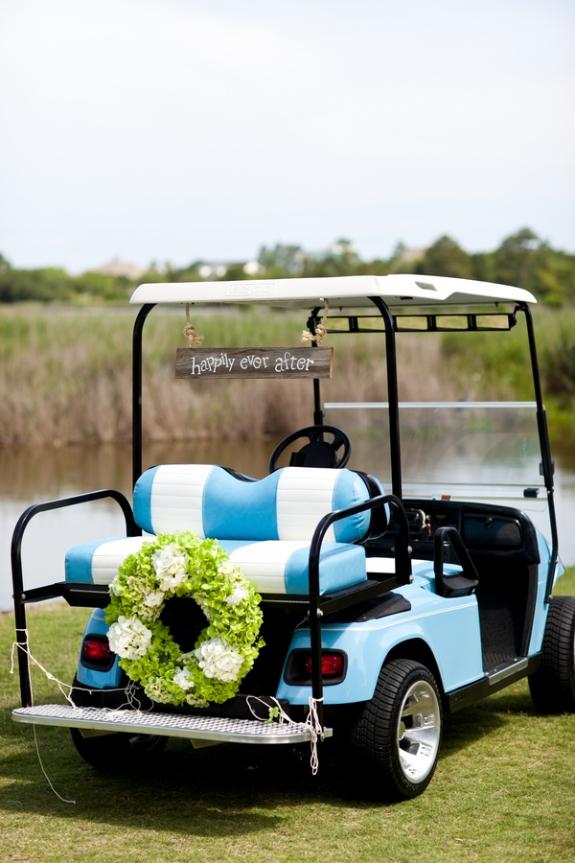 wedding golf cart getaway